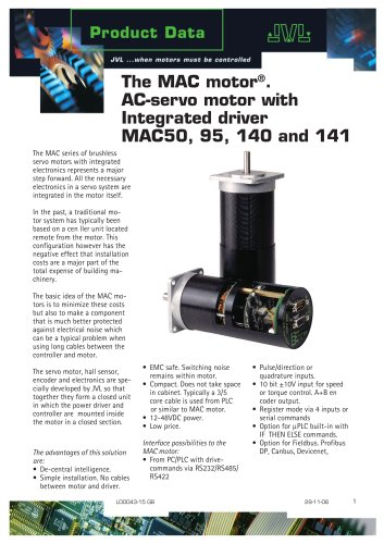 The MAC motor. AC servo motor with integrated driver. MAC50, 95, 140 1nd 141