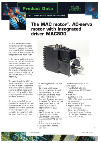 The MAC motor. AC-servo motor with integrated driver MAC800