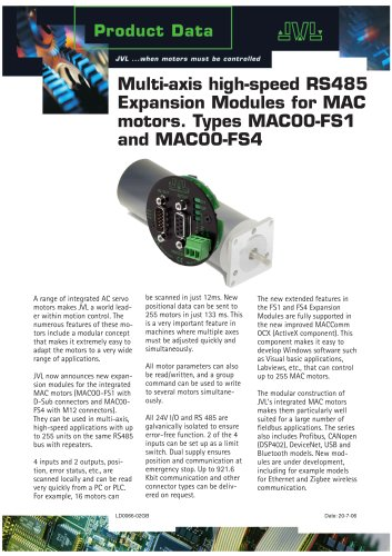 Multi-axis high-speed RS485 Expansion Modules for MAC motors. Types MAC00-FS1 and MAC00-FS4