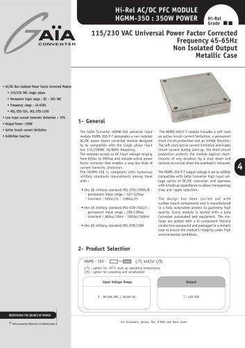 AC/DC Modules Datasheets PFC 350 W 115/220Vac Series