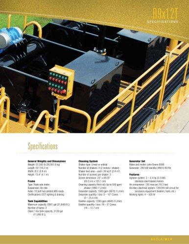 R9x12T Reclaimer Literature