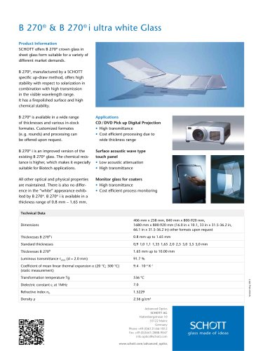 B 270® & B 270® i Flat Glass