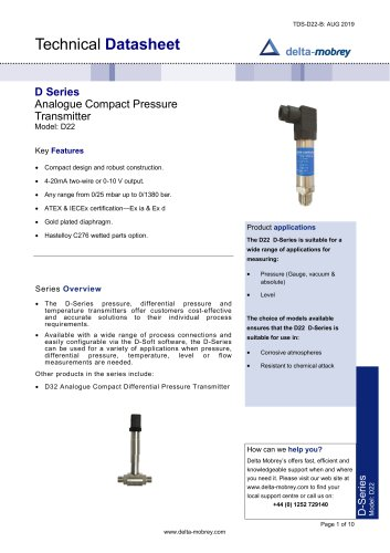 D Series Analogue Compact Pressure Transmiter