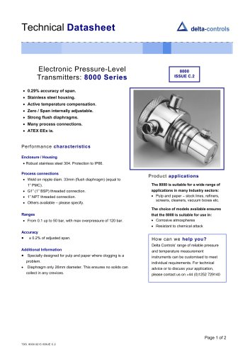 Electronic Pressure-Level Transmitters:  8000 Series
