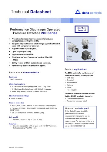 Performance Diaphragm Operated   Pressure Switches  200 Series
