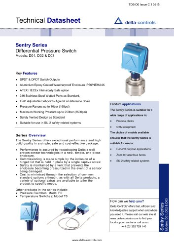 Sentry Series Differential Pressure Switch Models: D01, D02 & D03