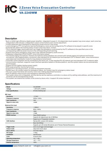 Zones Voice Evacuation Controller VA-2240WM