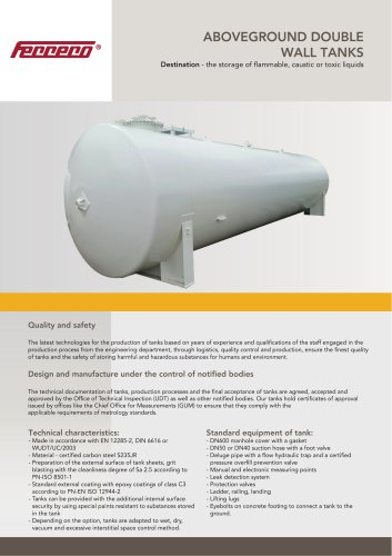 Above ground double wall tanks