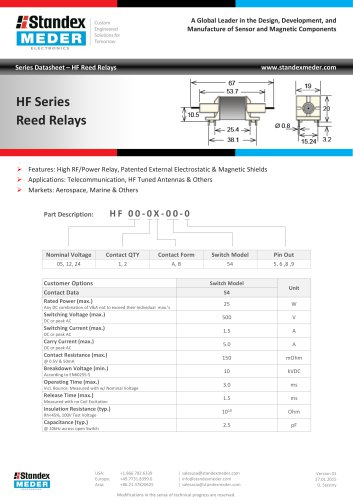 HF SERIES REED RELAY