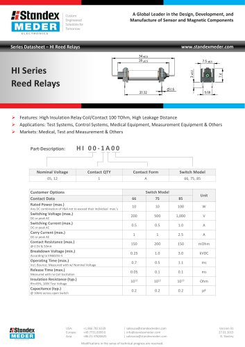 HI SERIES REED RELAY