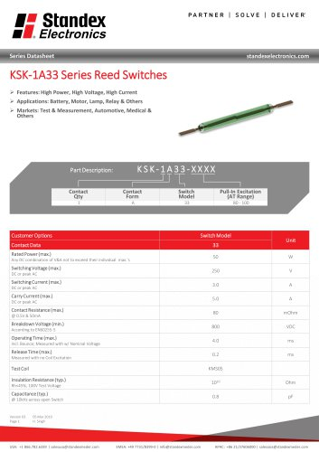 KSK-1A33 Series Reed Switches