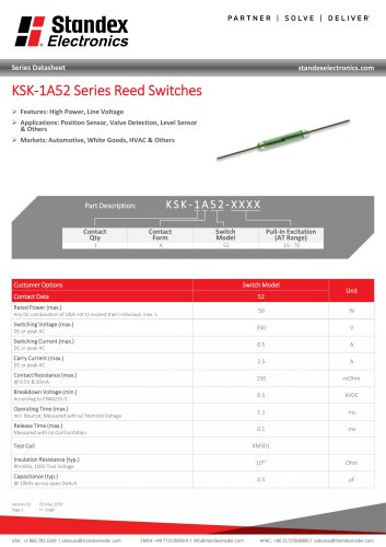 KSK-1A52 Series Reed Switches