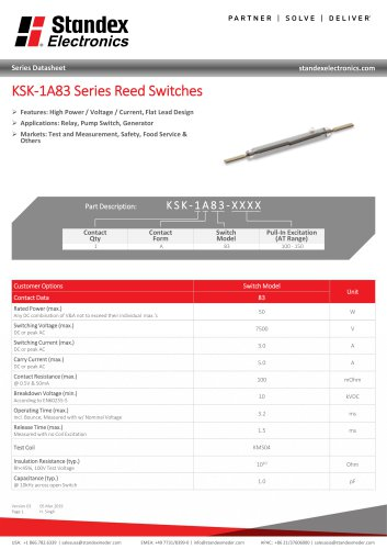 KSK-1A83 Series Reed Switches