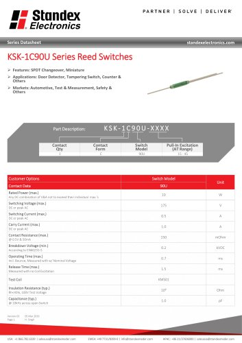 KSK-1C90U Series Reed Switches
