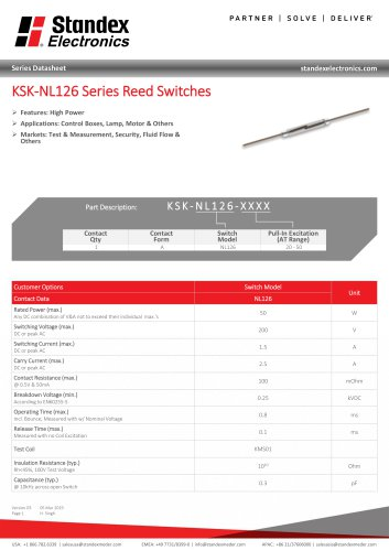 KSK-NL126 Series Reed Switches