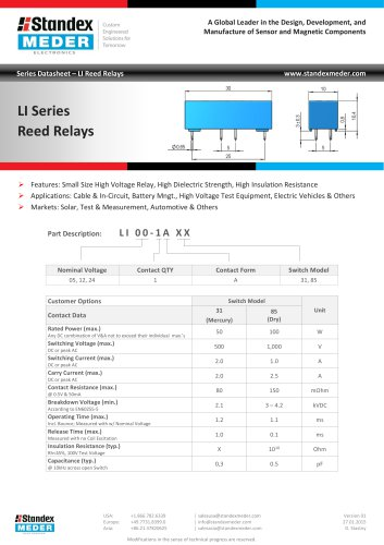 LI SERIES REED RELAY