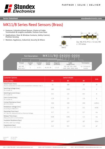 MK11 BRASS SERIES REED SENSOR