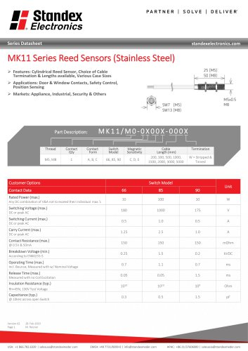 MK11 STAINLESS STEEL SERIES REED SENSOR