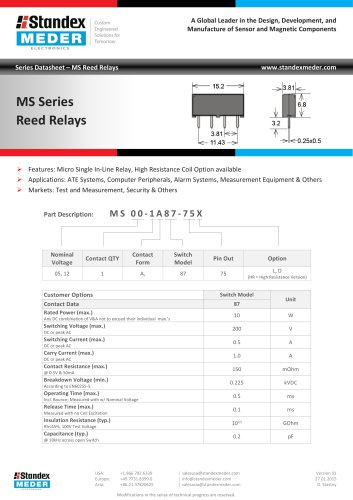 MS SERIES REED RELAY