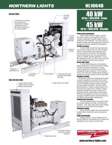 60 Hz / 1800 rpm: 40 kW - prime NL1064 Land Based Generator