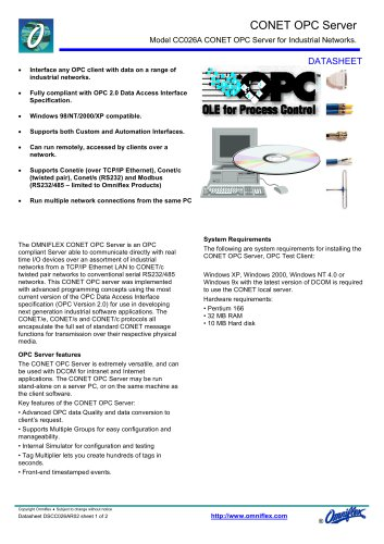 Model CC026A CONET OPC Server