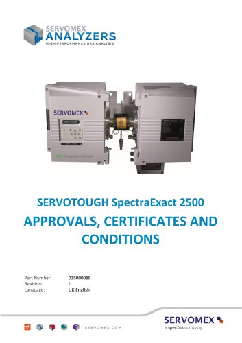SERVOTOUGH SpectraExact 2500 Approvals_Certificates & Conditions Manual 02500008E_1