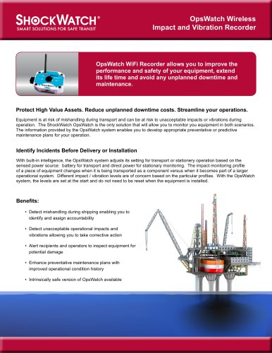 OpsWatch Wireless Impact and Vibration Recorder