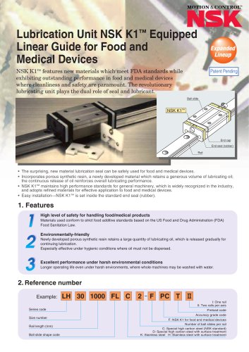 LUBRICATION UNIT NSK K1 EQUIPPED LINEAR GUIDE FOR FOOD & MEDICAL DEVICES