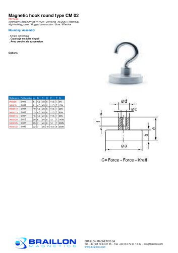 Magnetic hook round type CM 02