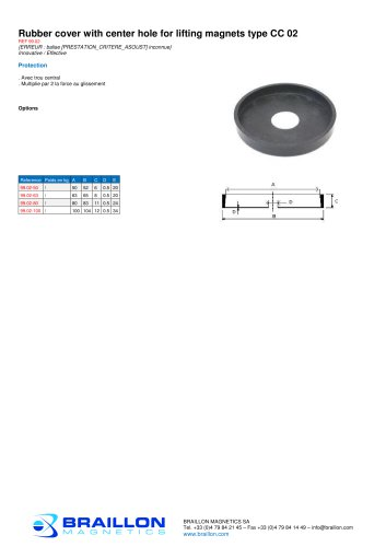Rubber cover with center hole for lifting magnets type CC 02