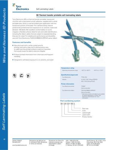 SB Thermal transfer printable self-laminating labels