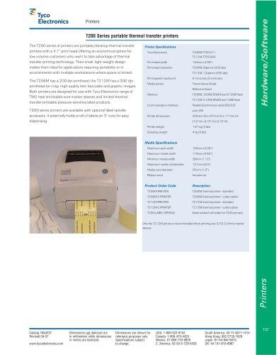 T200 Series portable thermal transfer printers