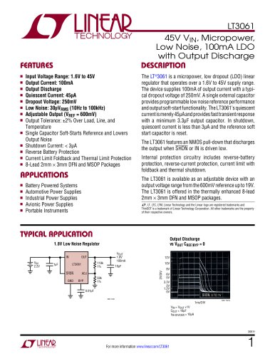 LT 3061  45V V IN , Micropower, Low Noise, 100mA LDO with Output Discharge
