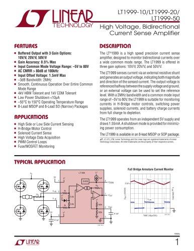 LT1999-10/LT1999-20/ LT1999-50 - High Voltage, Bidirectional Current Sense Amplifier