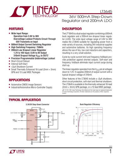 LT3645 - 36V 500mA Step-Down Regulator and 200mA LDO
