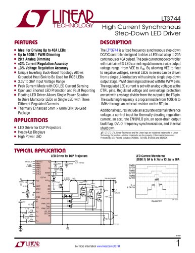 LT3744 - High Current Synchronous Step-Down LED Driver