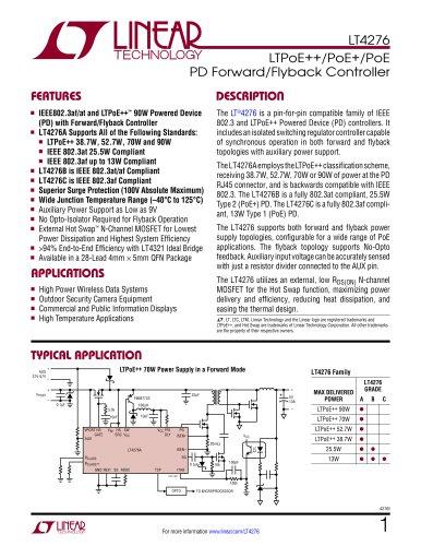LT4276 - LTPoE++/PoE+/PoE PD Forward/Flyback Controller