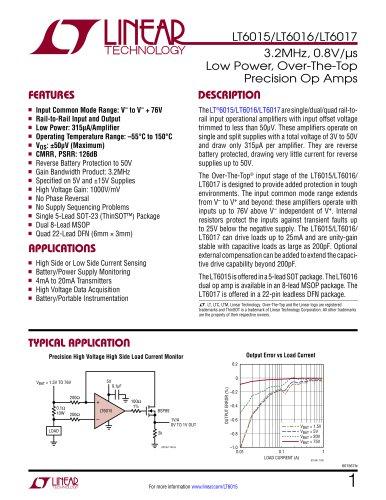 LT6015/LT6016/LT6017 - 3.2MHz, 0.8V/?s Low Power, Over-The-Top Precision Op Amps