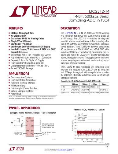LTC2312-12 - 12-Bit, 500ksps Serial Sampling ADC in TSOT