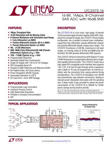 LTC2373-16 - 16-Bit, 1Msps, 8-Channel SAR ADC with 96dB SNR
