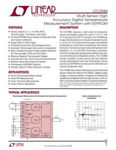 LTC2984 Multi-Sensor High Accuracy Digital Temperature Measurement System with EEPROM