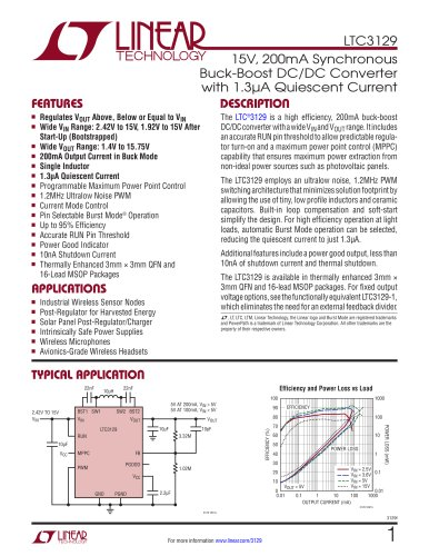 LTC3129 - 15V, 200mA Synchronous Buck-Boost DC/DC Converter with 1.3?A Quiescent Current