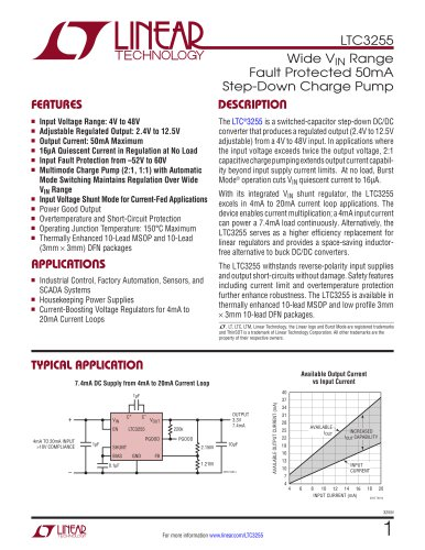 LTC3255 - Wide VIN Range Fault Protected 50mA Step-Down Charge Pump
