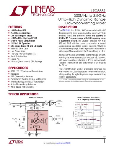 LTC5551 - 300MHz to 3.5GHz Ultra-High Dynamic Range Downconverting Mixer