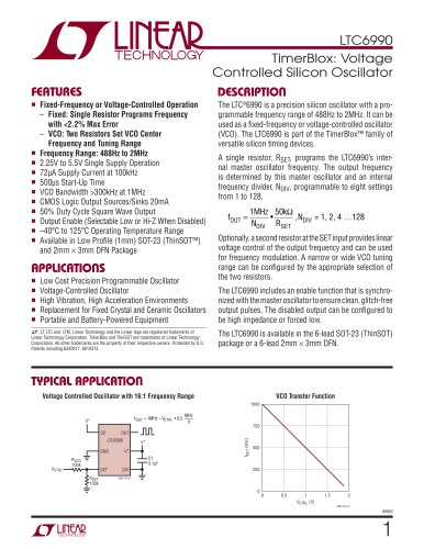 LTC6990 - TimerBlox: Voltage Controlled Silicon Oscillator