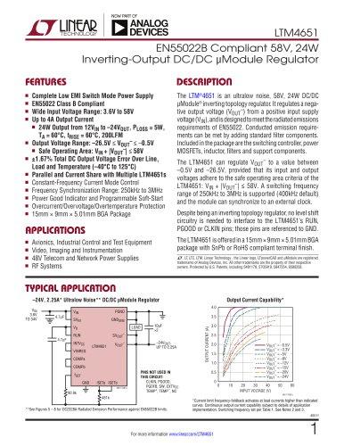 LTM4651 EN55022B Compliant 58V, 24W Inverting-Output DC/DC μModule Regulator