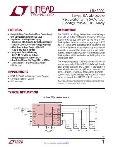 LTM8001 - 36VIN, 5A ?Module Regulator with 5-Output Configurable LDO Array