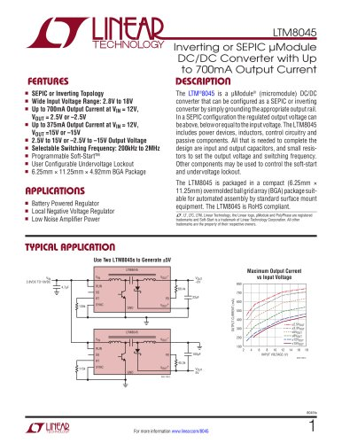 LTM8045 - Inverting or SEPIC ?Module DC/DC Converter with Up to 700mA Output Current