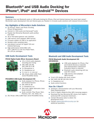 Bluetooth® and USB Audio Docking for Personal Electronic Devices Sell Sheet