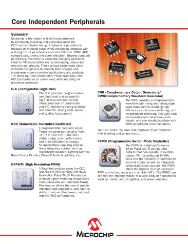 Core Independent Peripherals for 8-bit PIC Microcontrollers Sell Sheet
